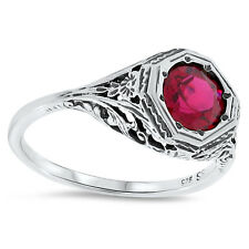 LAB RUBY ANTIQUE ART DECO DESIGN 925 STERLING SILVER FILIGREE RING Sz 8.75,  #85