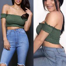 Sexy~Women Bodycon Casual Short Sleeve Off Shoulder Bandeau Slim Crop Top Blouse