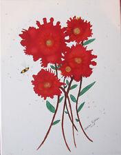 "Original painting 11x14"" CANVAS red flowers bumblebee by Lynne Kohler"