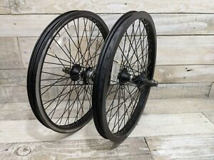 """2002 Black 20"""" Wheelset Schwinn XS Hubs Alex MX22 Rims Mid School BMX Automatic"""