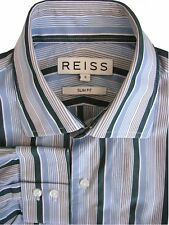 REISS Shirt Mens 14.5 S Blue - Multi-Coloured Stripes SLIM FIT