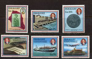 PARAGUAY 1985, CHACO PEACE AGREEMENT, DAM, PLANE, SHIP, MEDAL, Sc 2153-2158, MNH