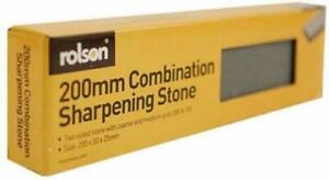 """8"""" (200mm) COMBINATION SHARPENING STONE SHARPEN CHISELS AXES KNIVES BOLSTERS UK"""