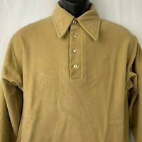 Vintage 70s Sears Perma Pressed Shirt L Brown Thick Arnel Collared Long Sleeves