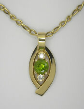 Peridot Diamond Pendant, Handmade 18ct yellow gold pendant
