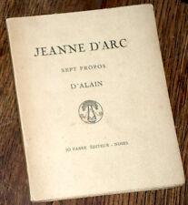 Jeanne d'Arc sept propos d'Alain 1925