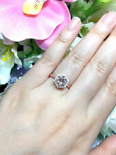 14k Rose Gold Hexagon Diamond Halo,Round Morganite Solitaire Engagement Ring