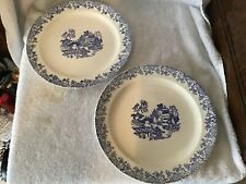 Pair of blue willow pattern dinner plates
