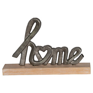 Home Letters with Heart Cutout Tabletop Figurine Metal 10 Inches