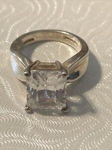 Sterling Silver Diamonique CZ Engagement Ring -Size 4 1/2