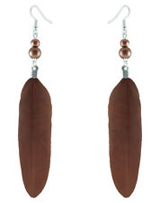 F3010 Brown Feather likes gourd beads cute dangle earrings new arrive