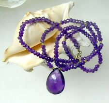 RARE TRANSLUCENT PURPLE FACETED AFRICAN AMETHYST BRIOLETTE 14K GOLD NECKLACE 18""