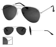Black Lens Aviator Sunglasses Silver Frame With Pouch Retro 100% UV400 Metal NWT