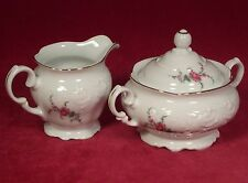 Royal Kent Collection Poland Creamer & Covered Sugar Bowl Floral Pink Flower