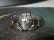 STERLING SILVER HEART CLADDAUGH IRISH CELTIC IRELAND RING SIZE 5,6,7+9 RINGS