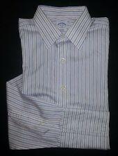 Brooks Brothers 346 Dress Shirt 16-34 White Blue Purple Stripe Non-iron c588