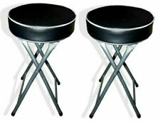 2 x Round Foldable Stool Soft Seat Padded Folding Chair Stool Home Kitchen Black