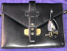 5b644baa0f85 New  1995 Ralph Lauren Ricky Black Leather Italy Purple Label Purse HandBag  Bag
