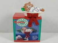 Vintage Hallmark Kitten In Basket Christmas Stocking Hanger