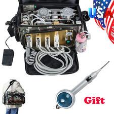 【US】 Portable Dental Turbine Unit Bag Treatment Compressor Suction Air Polisher