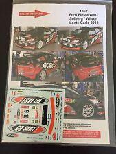 DECALS 1/43 FORD FIESTA WRC MATTHEW WILSON RALLYE MONTE CARLO 2012 RALLY