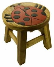 Cute Ladybird Design Shabby Chic Childs Brown Wood Wooden Stool