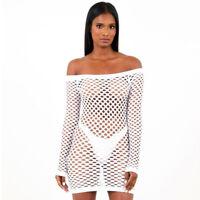 Womens Ladies Long Sleeve See Through Fish Mesh Net STRING Mini Dress Top Shirt