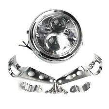 6.5''  Moto Chrome Phare Projecteur LED Headlight Lamp + Bracket Pr Jeep Harley