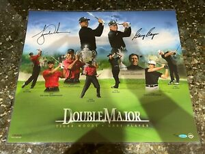 Tiger Woods Gary Player Dual Signed Auto 20x24 Photo Double Major #44/50 UDA COA