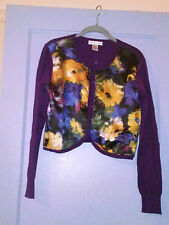 NEWPORT NEWS CARDIGAN MULTI-MEDIA SWEATER~ NWT~ PURPLE FLORAL~ SIZE MEDIUM~
