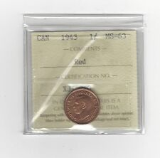 **1943**,ICCS Graded Canadian, Small One Cent, **MS-63**