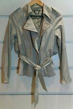 """ALL SAINTS Leather Jacket """"Darcy"""" Mini Trench Waist Tie Stone Sz 8"""