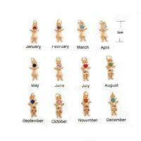 Birthstone Boy Or Girl Shaped Charm, Pendant, Grand Mother Pin 24K Gold Plated,