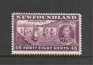 NEWFOUNDLAND SCOTT 243 MH FINE - 1937 48c DARK VIOLET ISSUE (A)   CV $7.00