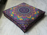 """Large 35"""" Square Floor Pillow Cover Floral Mandala Cushion Cover Dog Bed Covers"""
