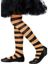 Child Orange Striped Tights Hosiery Fancy Dress Party Halloween Accessory Age 6 to 12 Years