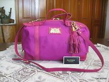 Juicy Couture Fuchsia Pink Nylon Leather Duffel Crossbody Bag Handbag Purse