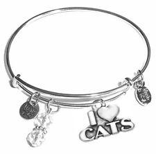 I Love Cats, Message Charm Expandable Bangle Bracelet