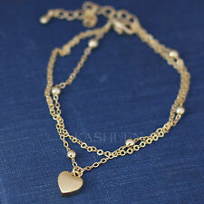 Dainty Tiny Love Heart Mother's Day Gold TN 2 Chain Bracelet Valentine's Jewelry