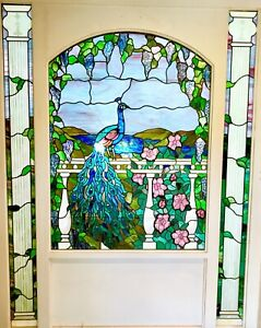 Vintage stained glass window panel. Commissioned luxury quality stained glass