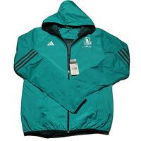 Adidas Mens Small 2016 Boston Marathon Full Zip Windbreaker Teal Altenate NEW
