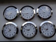 """6-PAK 1-7/16""""(65MM) Hi-Qual QUARTZ CLOCK Insert, Silver Bezel, Metal Case,Arabic"""