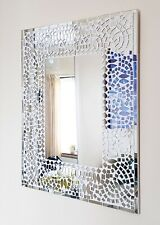 Rectangular white & clear mosaic patterned wall mirror 50cm-hand made Bali-NEW