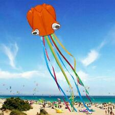 Outdoor Fun Kite Kids Colorful Tail Single Line Stunt Soft Red Octopus V2T8