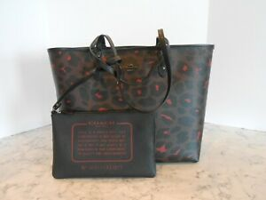 New COACH F37877 LEOPARD Reversible City Tote with Pouch $350 OXBLOOD/BLACK