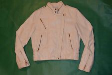 WOMEN'S WILSONS LEATHER WHITE MOTORCYCLE JACKET! ZIPPERS POCKETS & SLEEVES! 10