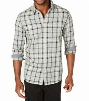 American Rag Mens Shirt Deep Gray Size 2XL Button Front Plaid Print $45 341
