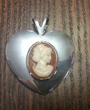 Sterling Silver Italian Polished Heart w Carved Shell Lady Cameo Pendant