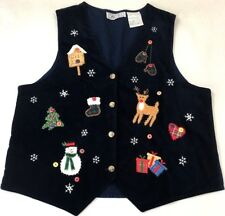 Oak Hill Womens Vest Christmas Holiday Blue Velour Applique Buttons Size Medium