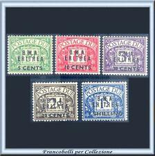1948 Occupazioni Colonie B.M.A. Eritrea Segnatasse 5 val. n. 1/5 BMA Nuovi **